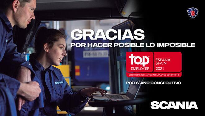 Scania, certificada Top Employer por sexto año consecutivo