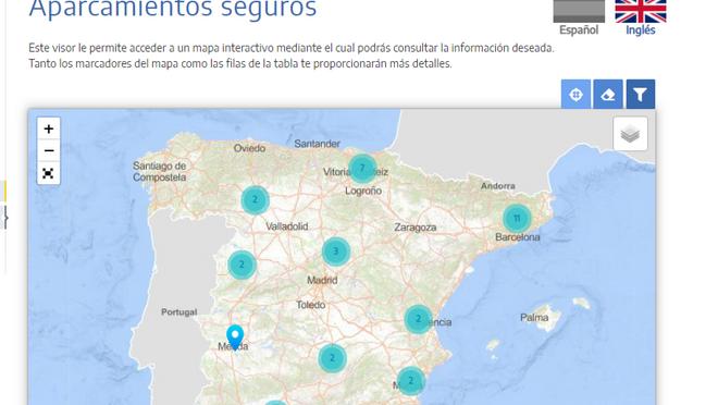 Mapa interactivo de los 36 aparcamientos seguros para camiones