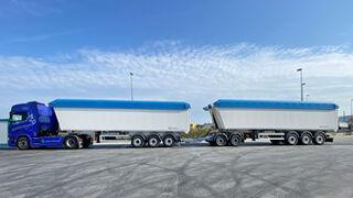 Bodegotrans estrena un duotrailer basculante de 28,5 m  con un peso bruto de 70 t